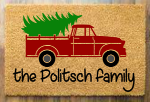 Christmas truck with family name