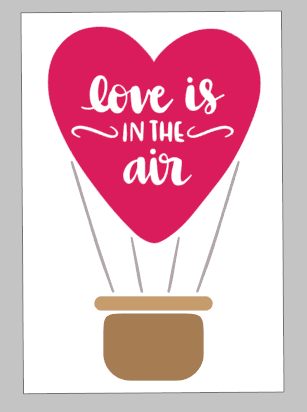 Valentines Day Tiles - Love is in the air hot air balloon