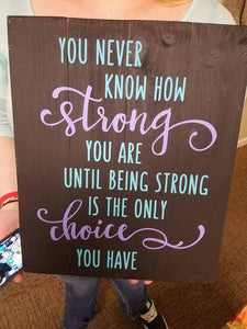 You never know how strong we are until being strong is the only choice you have
