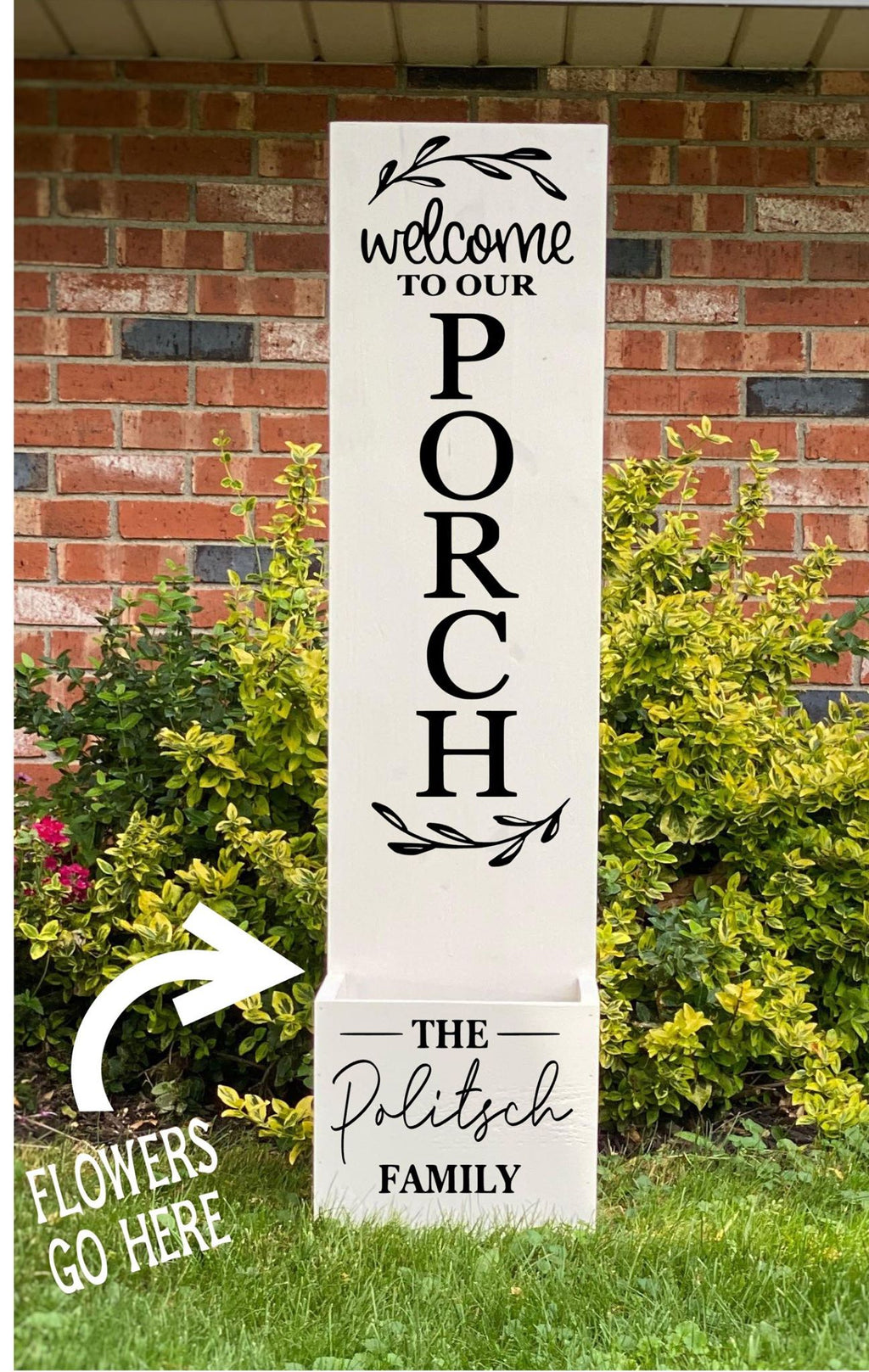 Porch Planter - Welcome to our porch with family name