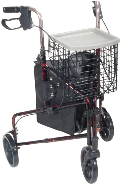3 Wheel Rollator Walker with Basket Tray and Pouch - Accord Medical Supply