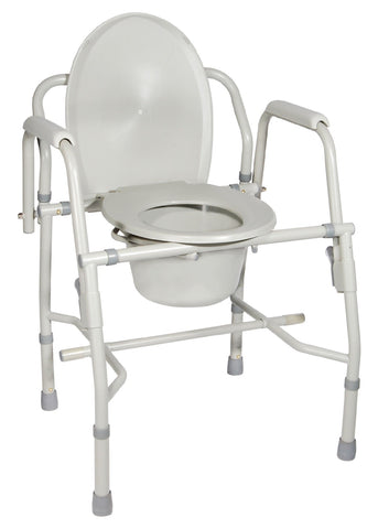 Steel Drop Arm Bedside Commode with Padded Arms - Accord Medical Supply