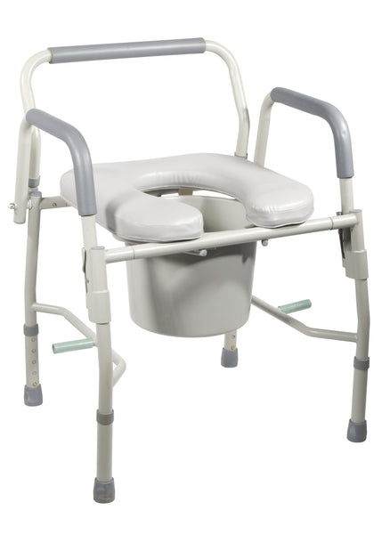 Steel Drop Arm Bedside Commode with Padded Seat & Arms - Accord Medical Supply