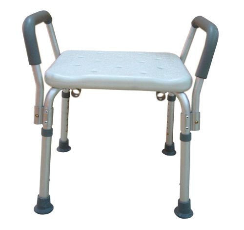 Bath Bench Adj Ht. w/o Back Remov Padded Arms - Accord Medical Supply