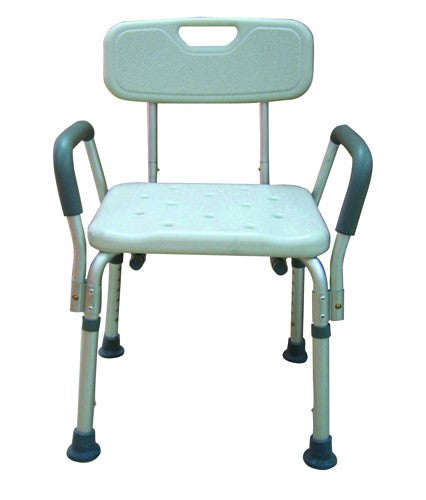 Bath Bench Adj Ht. w/Back-KD w/Remov Padded Arms - Accord Medical Supply