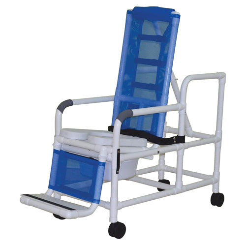 Bath Chair Articulating Lg PVC Reclining w/ Base & Casters