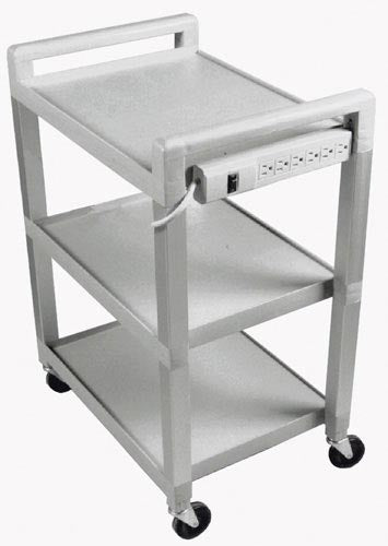 Utility Cart With Power Strip W/ Drawer