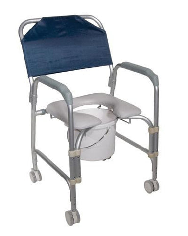 Aluminum Shower Chair/Commode with Casters Knockdown - Accord Medical Supply