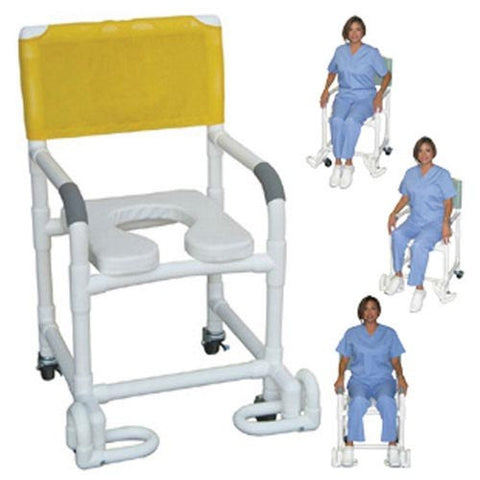 Shower Chair PCV w/Deluxe Elongated Soft Seat & Footrest - Accord Medical Supply