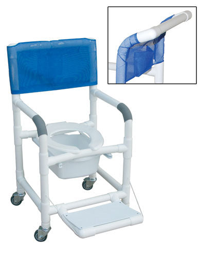 Shower Chair PVC Dlxe Drop Arm w/Folding Footrest & Sq. Pail