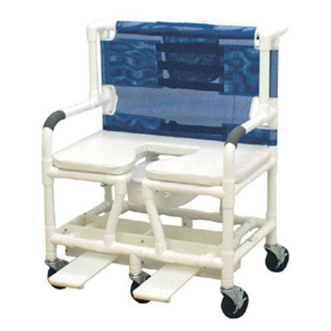Shower Commode Chair Bariatric PVC w/Dlx Elong Open Soft Seat - Accord Medical Supply