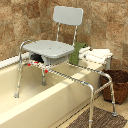 Snap-N-Save Sliding Transfer Bench w/Cut Out Swivel Seat