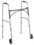 "Folding Walker, Two Button with 5"" inch Wheels"