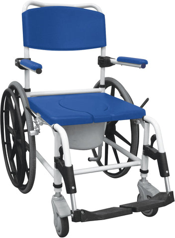 "Aluminum Shower Commode Mobile Chair with 24"" Rear Wheels - Accord Medical Supply"