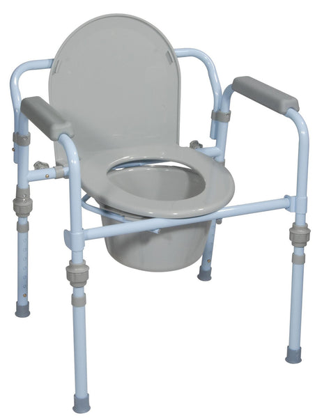Folding Bedside Commode with Bucket and Splash Guard Standard Seat Depth - Accord Medical Supply