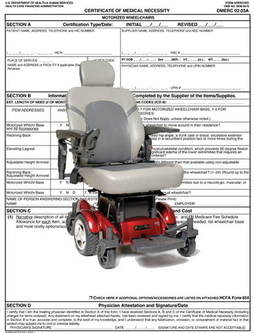 Certificate of Medical Necessity<br>Motorized Wheelchair PDF file - Accord Medical Supply