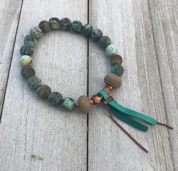 Gemstone, Clay Bead & Leather Diffuser Bracelet - rå goods