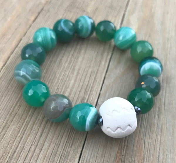 Gemstone & Clay Bead Diffuser Bracelet - rå goods