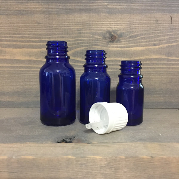 Cobalt Blue Glass Bottles With Orifice Reducers 4-pack