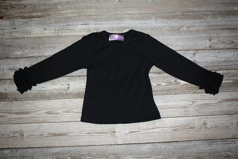 *Black Icing Ruffle Long Sleeve Shirt*