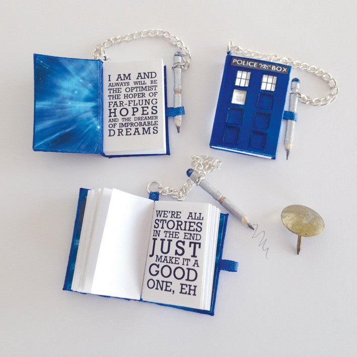Dr Who inspired diary with quotes and 'sonic screwdriver' working pencil