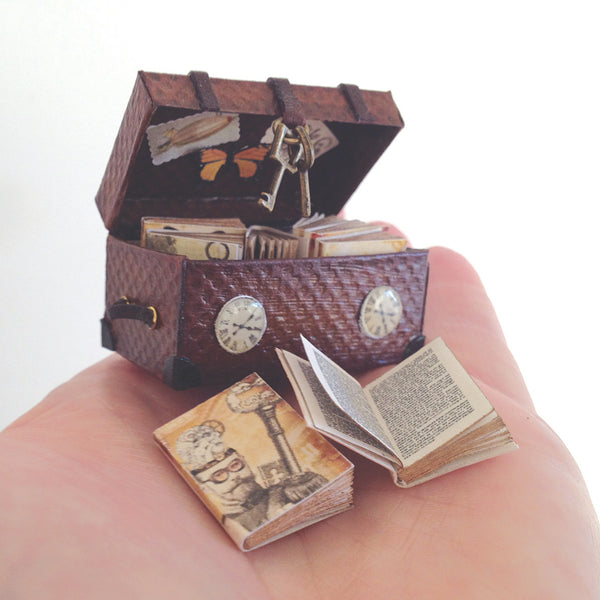 Steampunk Time Travellers Trunk with 8 Books