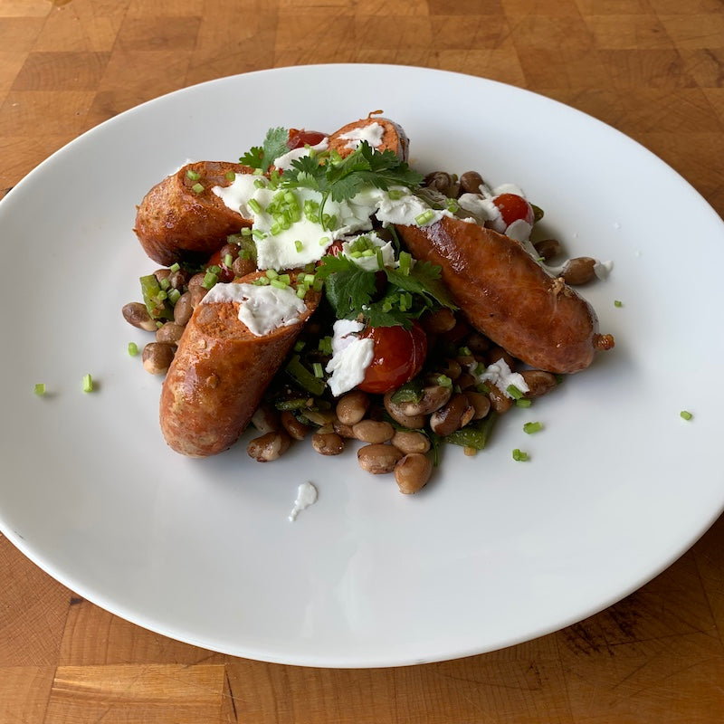 Chorizo| Zuni Gold Heirloom Beans| Rancho Llano Seco