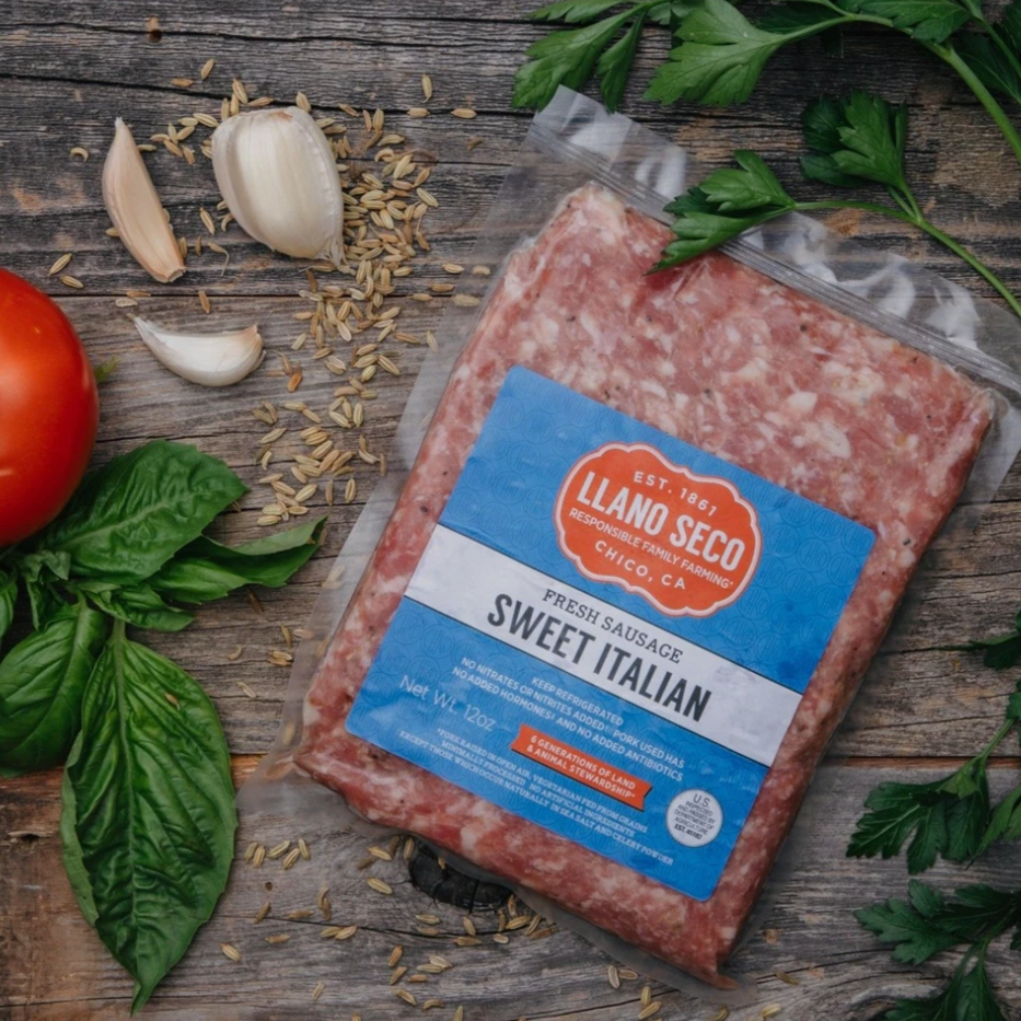 Order Pre-Seasoned Sweet Italian Ground Sausage | Shop Humanely Raised Pork and Meats | Delivered From California's Historic Family Farm - Rancho Llano Seco