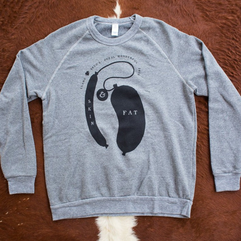Order the classic, cozy Offal Wonderful heather grey sweatshirt for men and women. Shop Llano Seco branded gear. Great Llano Seco farm merchandise gifts for friends, family and clients.