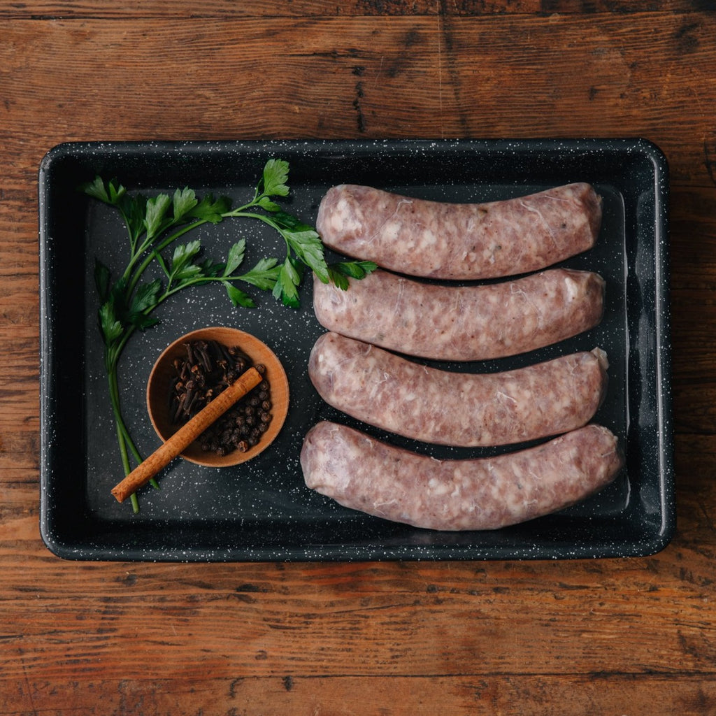 Order Alsatian Sausage | Shop California Heritage Pork | Fresh Sausage Links | Buy Sustainable & Ethical Meat | Historic Rancho Llano Seco | Meat Delivery