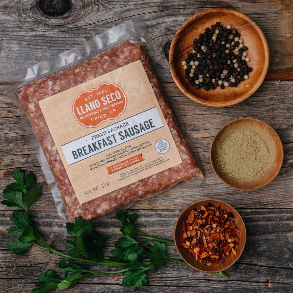 Order California Breakfast Sausage Delivered From Historic Rancho Llano Seco | Shop Sustainable Breakfast Meats and Heritage Pork