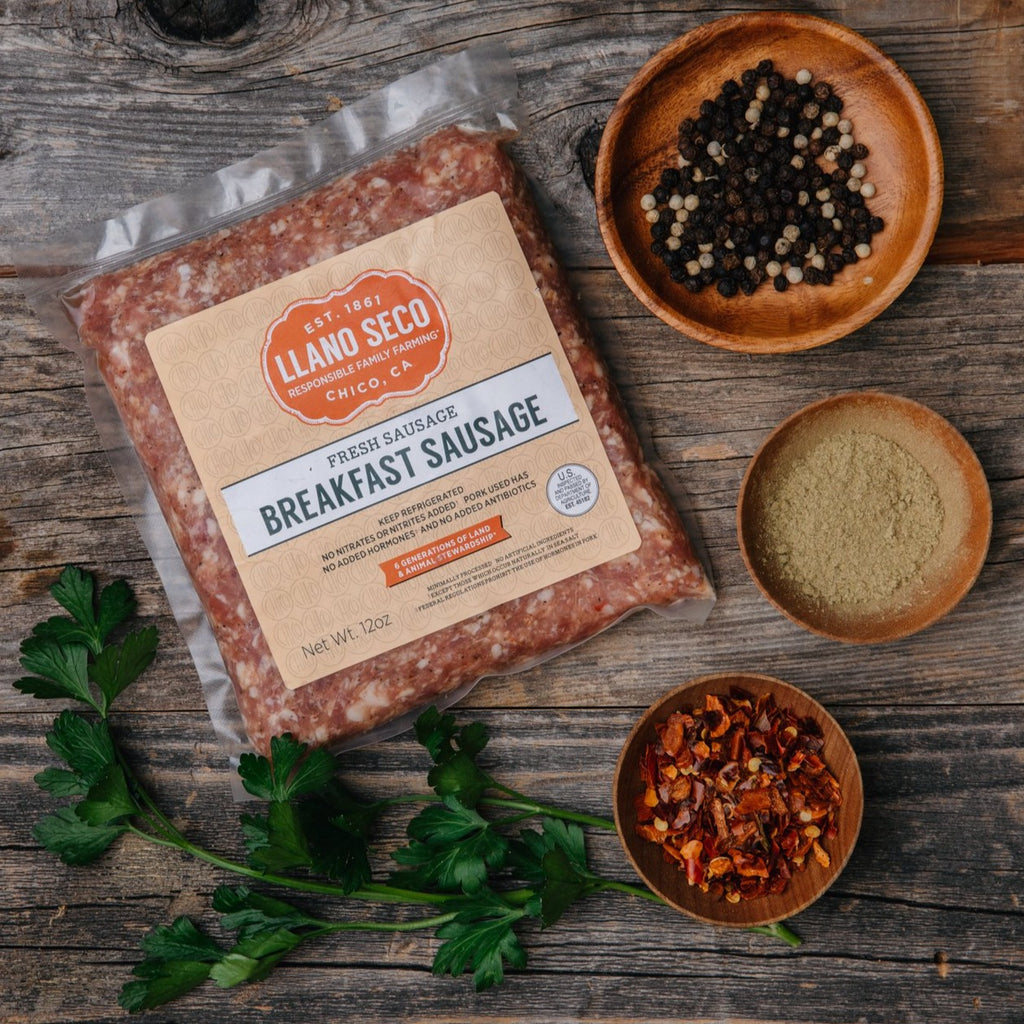 Heritage pork Breakfast Sausage | Ground Pork | California's Historic Rancho Llano Seco | Shop and buy responsibly raised ethical pork products | family farming | pork breakfast sausage chub