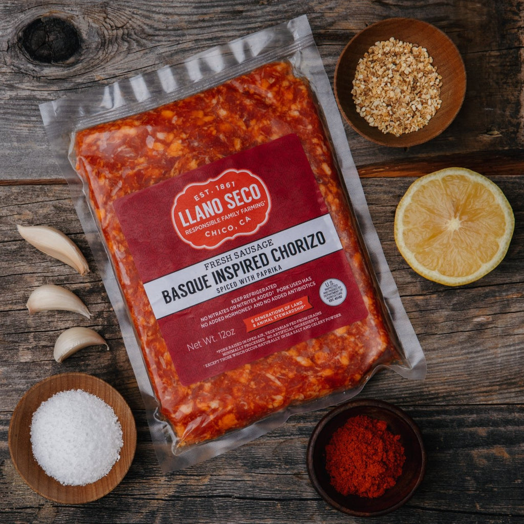 Basque Inspired Chorizo | Sausage Chub | Heritage Pork | Historic Rancho Llano Seco | California Pork | Shop and buy meat | order online | sustainably raised pork | responsible family farm