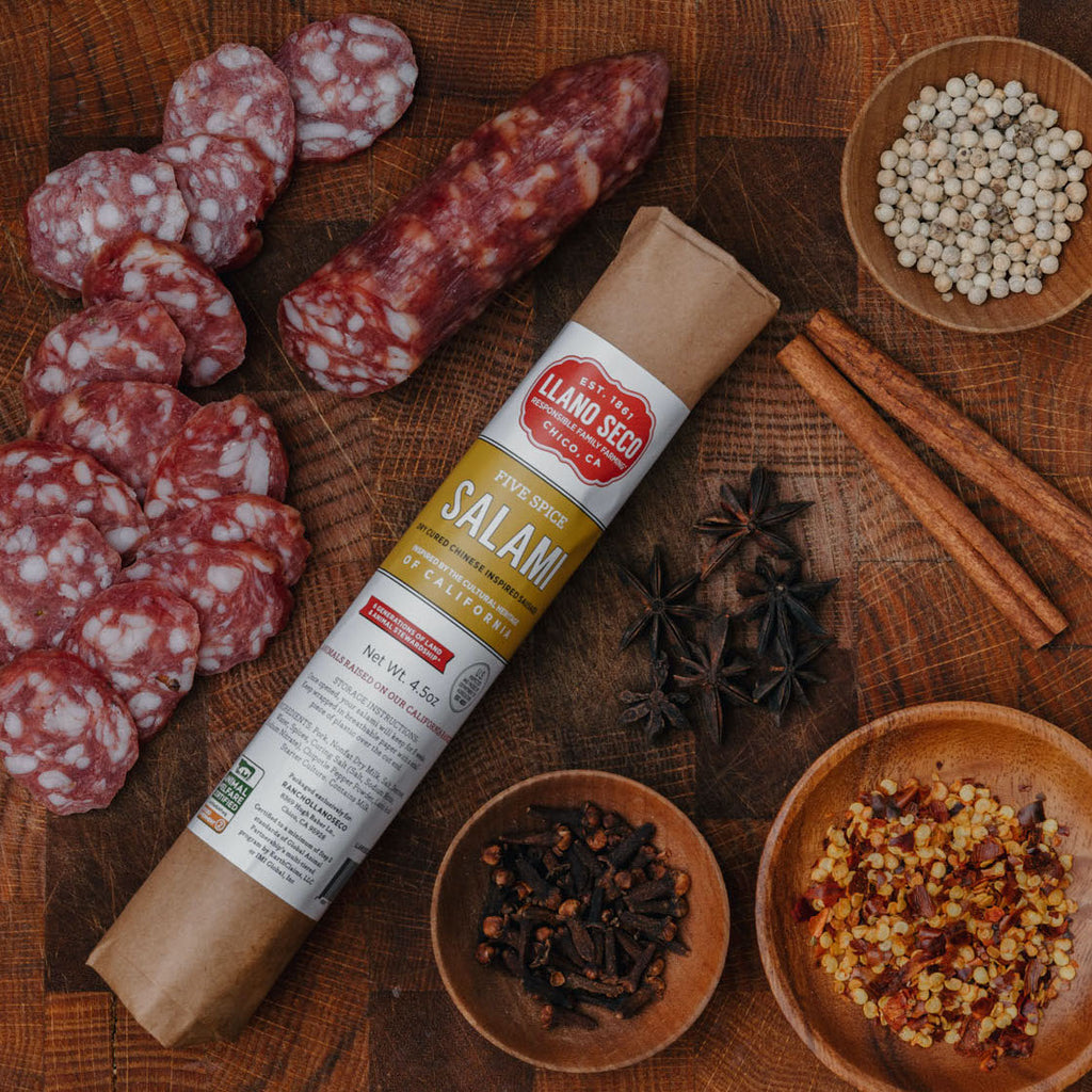 Order California Made Salami | Chinese Five Spice | Shop humanely raised sustainable heritage pork | Historic Rancho Llano Seco | Delivered from our family farm