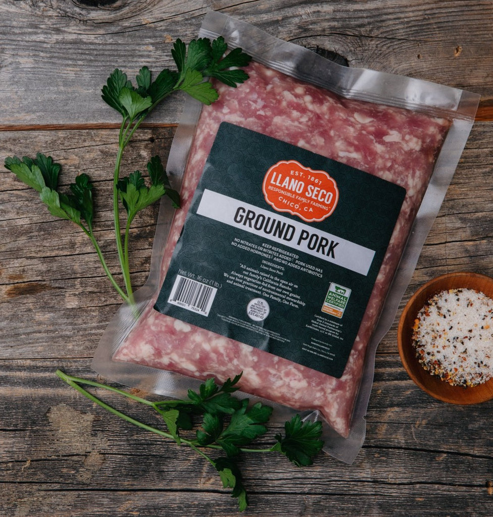 Ground Pork | Shop and buy heritage pork products | California's historic Rancho Llano Seco | sustainable family farming | responsibly raised ethical pork