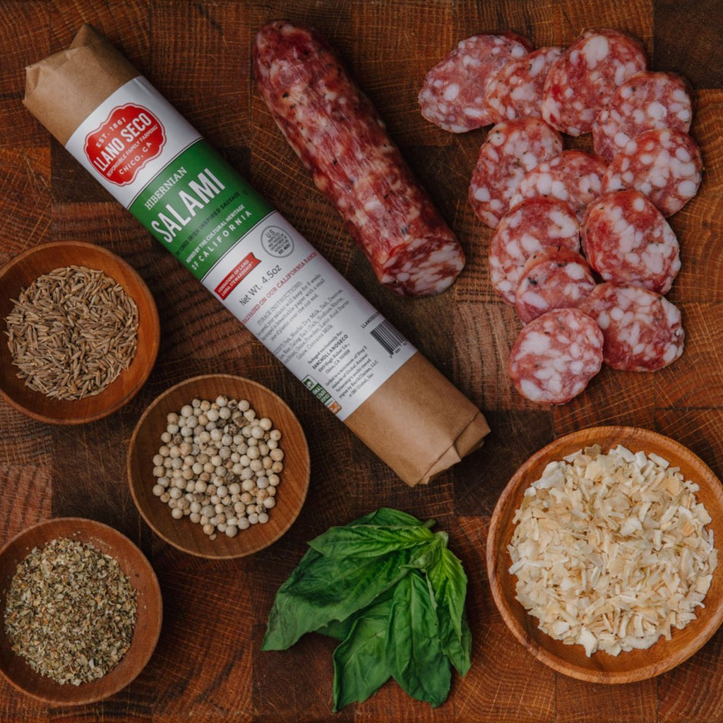 Order California Made Salami | Hibernian Salami delivered from our family farm| Shop and buy responsibly and humanely raised pork | Historic Rancho Llano Seco |