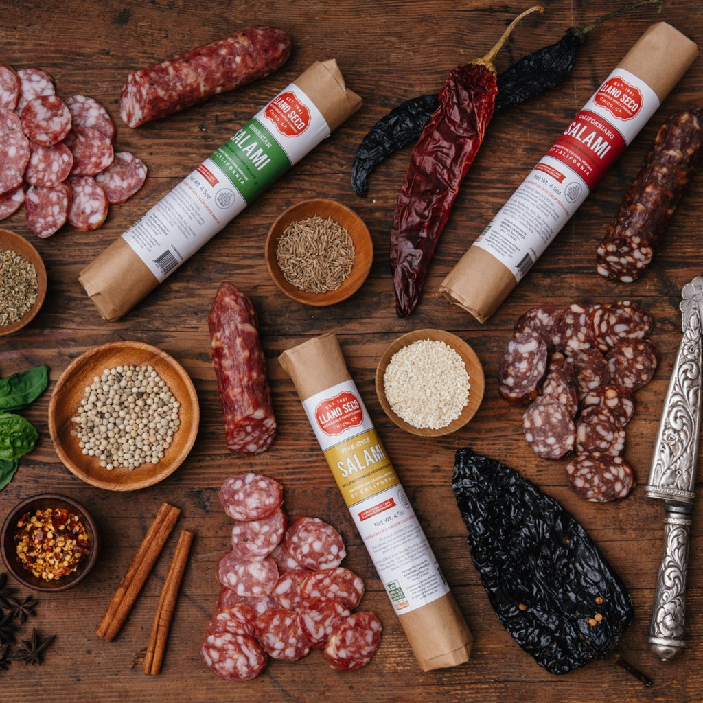 Salami Sampler | A trio of salamis including Californiano, Hibernian and Chinese Five Spice Inspired | California's Historic Rancho Llano Seco | Salami Gift Trio | Order Online | Responsible, sustainable and ethical family farm | Heritage pork