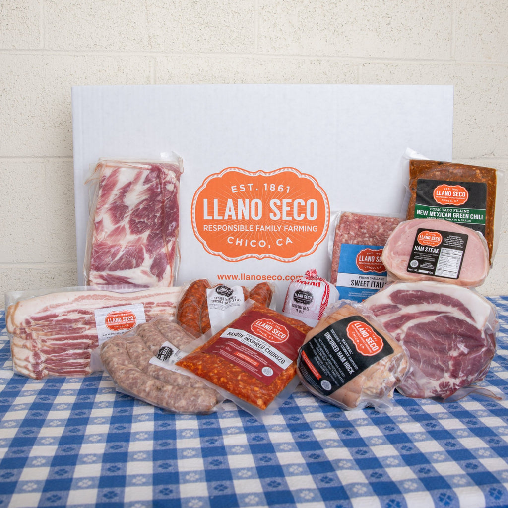 Rancho Family Subscription Meat Box | Delivered from our family farm | California's Historic Rancho Llano Seco | Heritage Pork | Pork & grass-fed Beef | Subscription Box | Monthly Delivery | Sustainable and responsibly raised meat