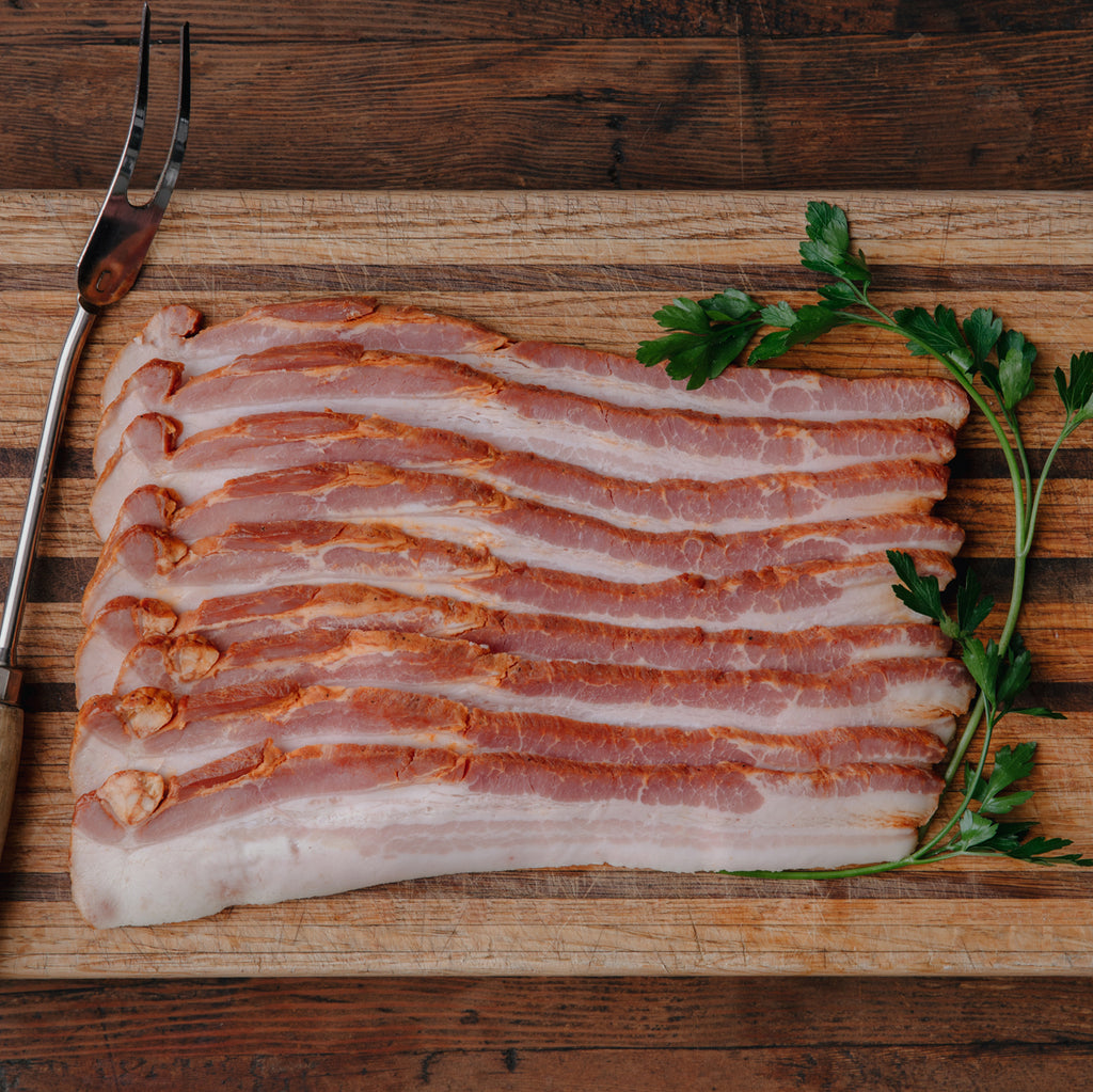 Order Sugar Free Sliced Bacon | mild bacon has no added sugar or nitrates | Humanely Raised Pork Bacon | Shop California's Historic Rancho Llano Seco