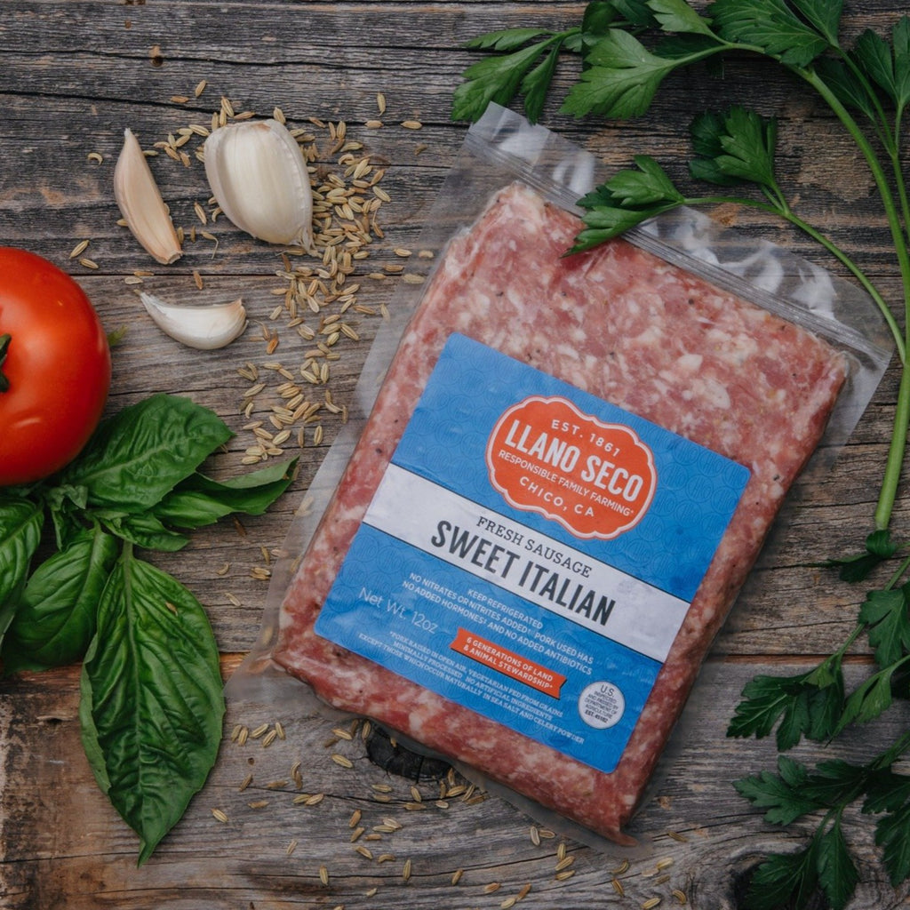 Order Sweet Italian Ground Sausage | Fresh Sausage Chub | Shop and buy natural California heritage pork | Historic Rancho Llano Seco | Sustainable and Ethical Meat Delivery | Responsibly raised pork
