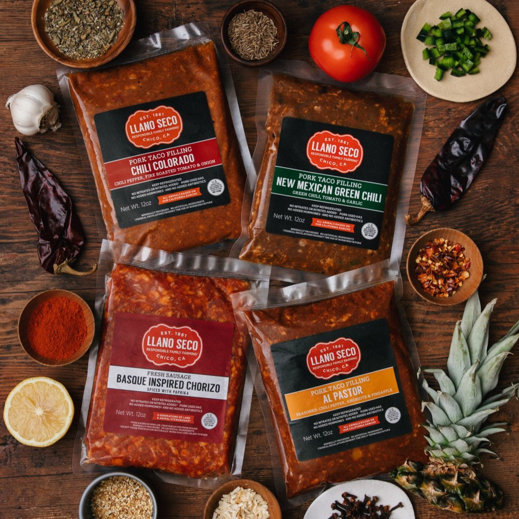 Taco Meat Sampler | Heritage Pork | California's Historic Rancho Llano Seco | Responsibly raised sustainable pork | Foodie Gift | New Mexican Green Chili, Chili Colorado, Basque Chorizo, Al Pastor