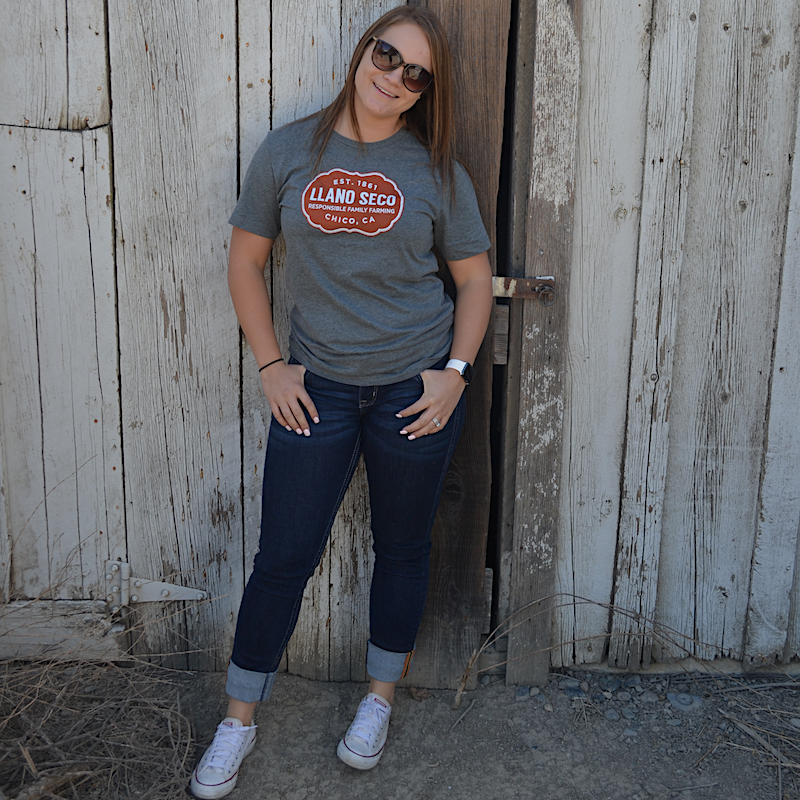 Order our classic cozy branded Rancho Llano Seco Tee for men and women. Shop Llano Seco logo farm gear.