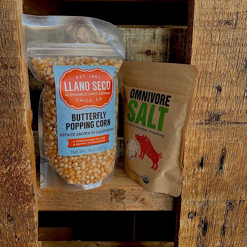 Order Estate Grown Heirloom Popcorn | Butterfly Popping Corn + Omnivore Salt Combo | Delivered From California's Historic Rancho Llano Seco | Shop Food Gifts