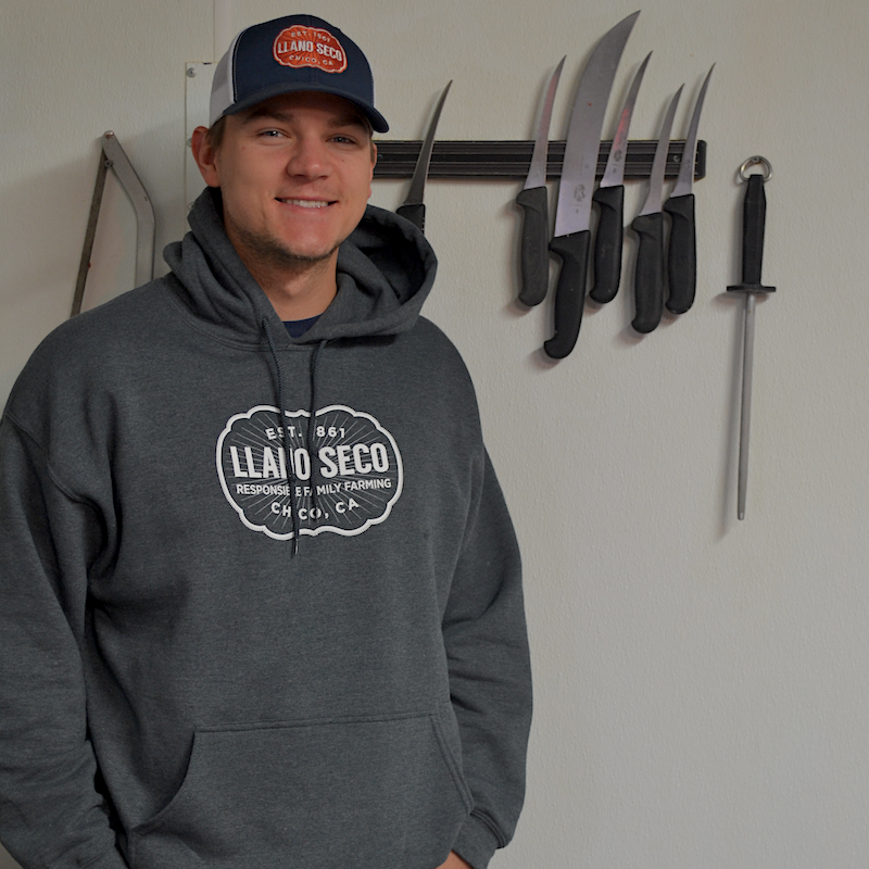 Our classic, cozy branded Rancho Llano Seco logo hoodie sweatshirt and trucker hat for men and women.