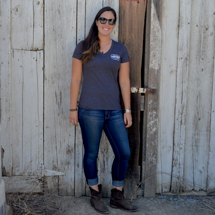 Order our Rancho Llano Seco branded logo t-shirt for women in dark heather grey. Shop online for all your favorite Llano Seco merchandise. Great gear gifts for friends, family and clients.