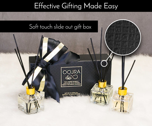 Essential Oil Reed Diffusers Gift Set of 3: Jasmine Bamboo, Lavender, White Tea & Ginger (2 oz each)