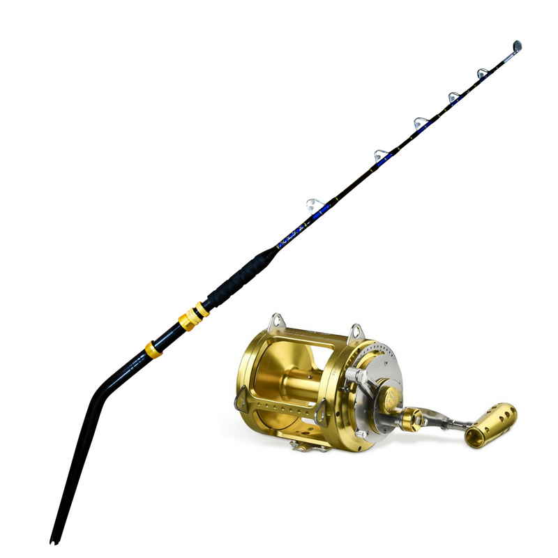 130lb Bent Butt Roller Rod & 80W Conventional Reel