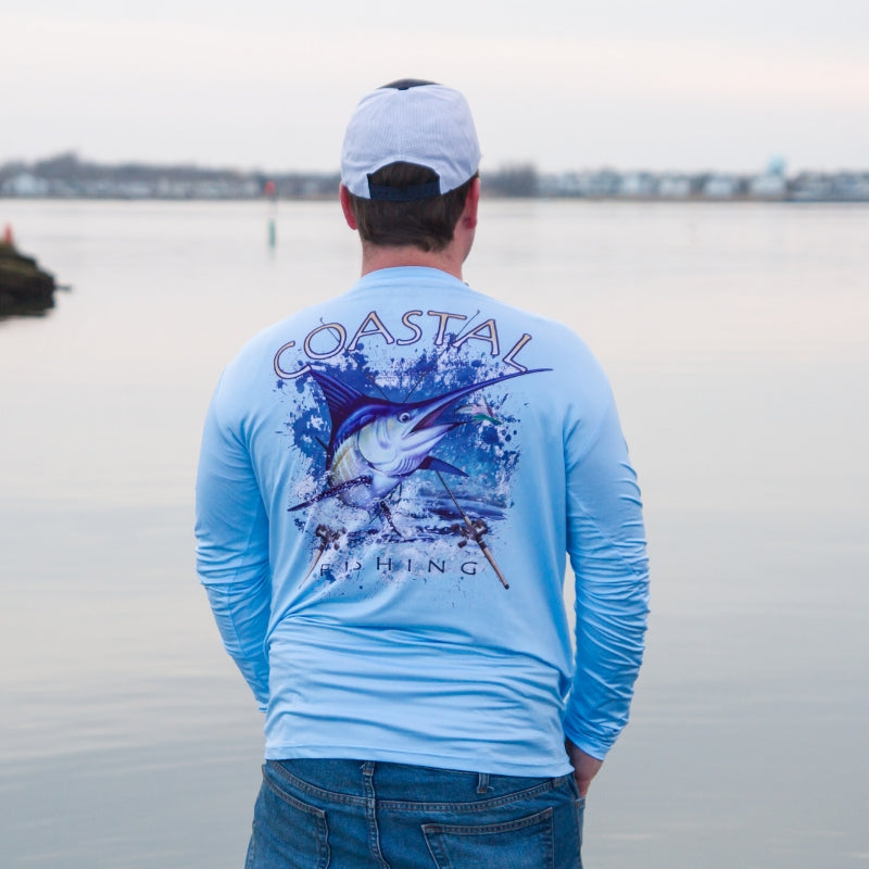 Coastal Blue Men's Long Sleeve QuickDry Fishing Shirt - Marlin Design - Coastal Fishing