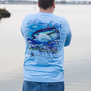 Coastal Blue Men's Long Sleeve QuickDry Fishing Shirt - Tuna Design