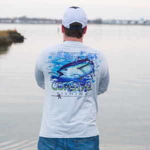 Coastal Gray Men's Long Sleeve QuickDry Fishing Shirt - Tuna Design - Coastal Fishing